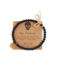 eff.Y.bee - Black Mini Bliss Onyx Beaded Skull Charm Bracelet - Lyst