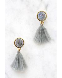 South Moon Under - Gray Druzy Stone Studs With Tassel Drop Earrings - Lyst