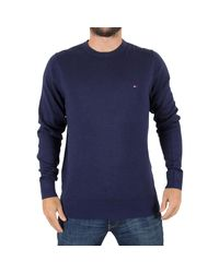 Tommy Hilfiger - Men's Plaited Silk Logo Knit, Blue Men's Sweatshirt In Blue for Men - Lyst