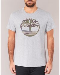Timberland - Gray Dunstan River Camo Print Men's T Shirt In Grey for Men - Lyst