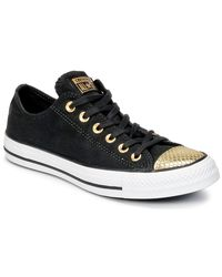 Converse - Chuck Taylor All Star Metallic Toecap Ox Women's Shoes (trainers) In Black - Lyst