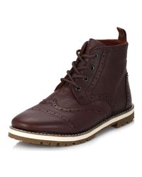TOMS   Mens Dark Brown Brogue Leather Boots for Men   Lyst