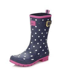 Joules - Blue Womens Navy Spot Mid Calf Wellington Boots Women's Wellington Boots In Multicolour - Lyst