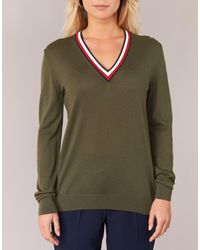 Tommy Hilfiger - Adana Tipping V-nk Swt Women's Sweater In Green - Lyst