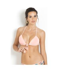 Maaji - Reversible Bikini Top Tie On Front Coral / Multicolour - Papay Women's In Pink for Men - Lyst