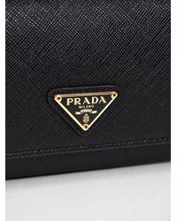 Prada - Black Saffiano Triangolo Continental Wallet - Lyst