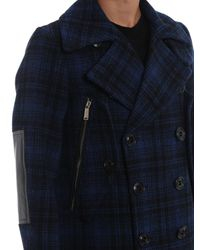 DSquared² Blue Checked Wool Single Breasted Peacoat for men