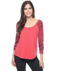 Splendid | Pink Thermal Venice Stripe Raglan | Lyst
