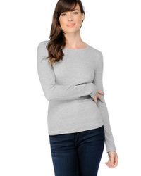 Splendid | Gray 1x1 Ribbed Long Sleeve Crew Tee | Lyst