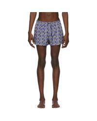 Short de bain à imprimé logo tuile Dolce & Gabbana pour homme en coloris Blue