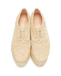 Robert Clergerie - Brown Tan Rafia Flatform Pinto Shoes - Lyst