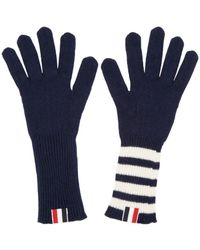 Thom Browne - Blue Navy Rib Cashmere Four Bar Gloves - Lyst