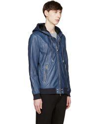 DIESEL - Blue Leather Collins Hoodie for Men - Lyst