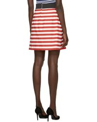 Dolce & Gabbana - Red & White Striped Apron Skirt - Lyst