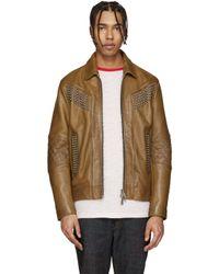 DSquared² - Brown Camel Studded Leather Jacket for Men - Lyst