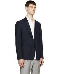 Maison Margiela - Blue Navy Wool Deconstructed Blazer for Men - Lyst