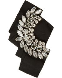 Lanvin | Black Crystal And Grosgrain Brooch | Lyst