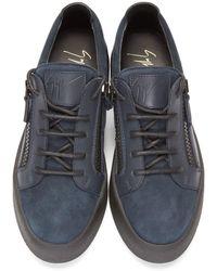 Giuseppe Zanotti - Blue Navy Leather Low-top London Sneakers for Men - Lyst