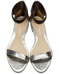 3.1 Phillip Lim - Metallic Silver & Black Leather Martini Sandals - Lyst