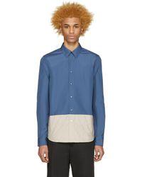 Marni - White Blue Contrast Panel Shirt for Men - Lyst