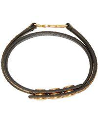 Saint Laurent - Metallic Gold Python Double Wrap Monogram Bracelet - Lyst