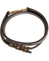 Saint Laurent - Black Leather Monogram Bracelet - Lyst