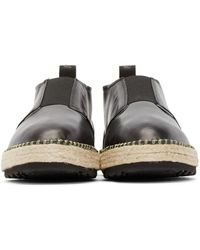 MSGM - Black Leather Espadrille Boots for Men - Lyst