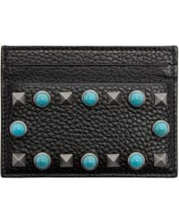 Valentino - Black Leather Stone & Rockstud Card Holder - Lyst