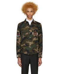 Valentino - Green Beaded Camo Jacket for Men - Lyst