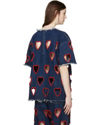 Ashish - Red Indigo Denim Cut Out Heart T-shirt - Lyst