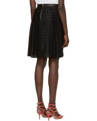 Burberry - Black Silk & Leather Striped Skirt - Lyst