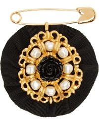 Dolce & Gabbana - Black Pearls & Roses Brooch - Lyst