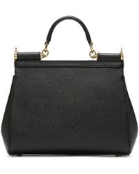 Dolce & Gabbana - Black Sicily Medium Textured-leather Tote - Lyst
