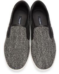 Dolce & Gabbana - Gray Grey Tweed Slip-on Sneakers for Men - Lyst