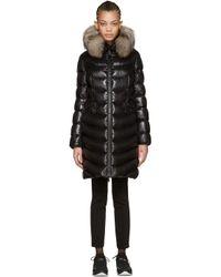 Moncler   Black Down & Fur Aphia Coat   Lyst
