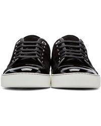 Lanvin - Brown Black Suede Tennis Sneakers for Men - Lyst