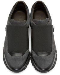 Lanvin - Gray Grey Suede Slip-on Sneakers for Men - Lyst