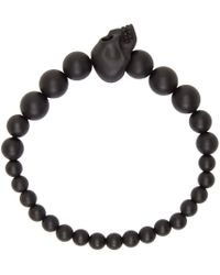 Alexander McQueen | Black Beaded Skull Bracelet for Men | Lyst