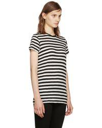 Proenza Schouler - Black & Ecru Striped T-shirt - Lyst