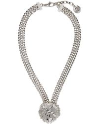 Versus - Metallic Silver Lion Necklace - Lyst