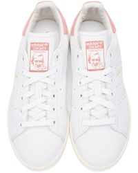 Adidas Originals - White & Pink Stan Smith Sneakers - Lyst