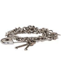 Alexander McQueen | Metallic Silver Three Chain Pin Bracelet | Lyst