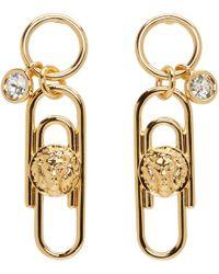 Versus | Metallic Gold Safety Pin Earrings | Lyst