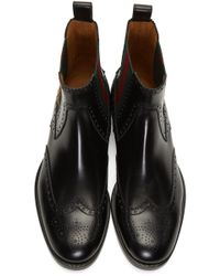 Gucci - Black Web-striped Leather Chelsea Boots for Men - Lyst