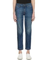 Stella McCartney - Blue Navy Cropped Frayed Jeans for Men - Lyst