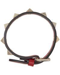 Valentino - Red Leather Rockstud Bracelet - Lyst
