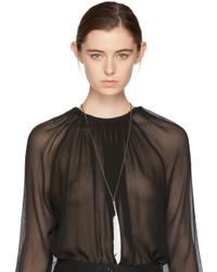 Ann Demeulemeester - Silver & White Feather Necklace - Lyst