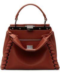 Fendi - Red Mini Peekaboo Bag - Lyst