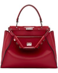 3347733a85 Lyst - Fendi Red Studded Peekaboo Bag in Red