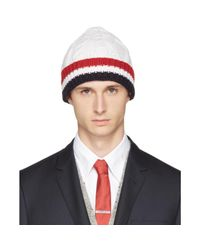Thom Browne | White & Tricolor Merino Aran Cable Beanie for Men | Lyst